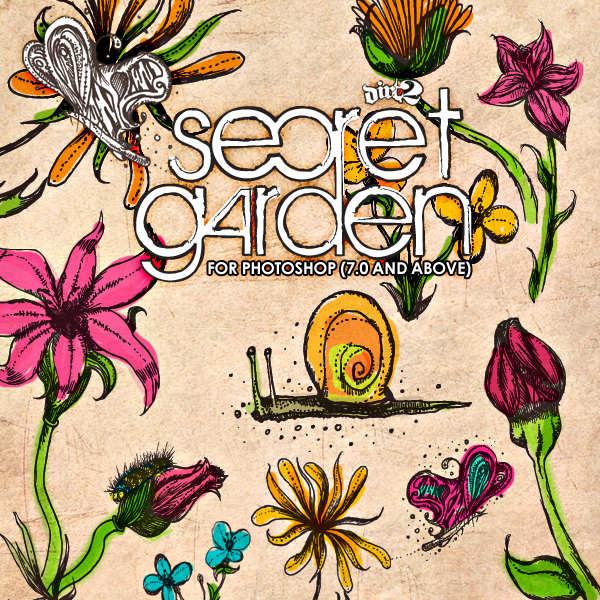 free photoshop secret garden doodle brushes