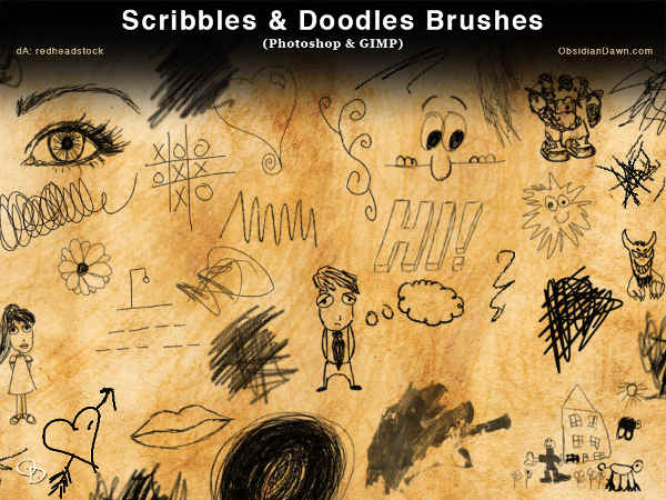 Free Scribbles and Doodles Photoshop Brushes