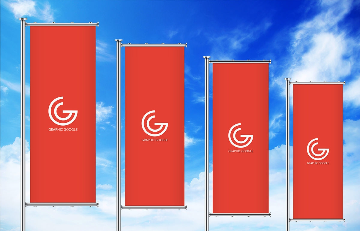 Free Streamer vertical Banner Mockup