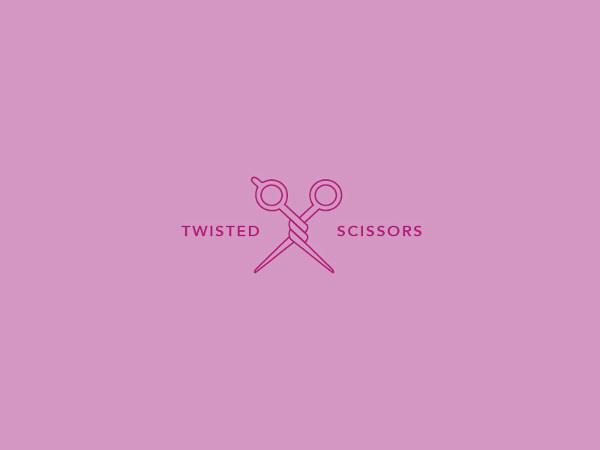 free twisted scissors logo design for insiration