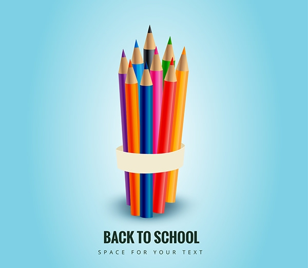 Free Vector Colored Pencils for Back to School