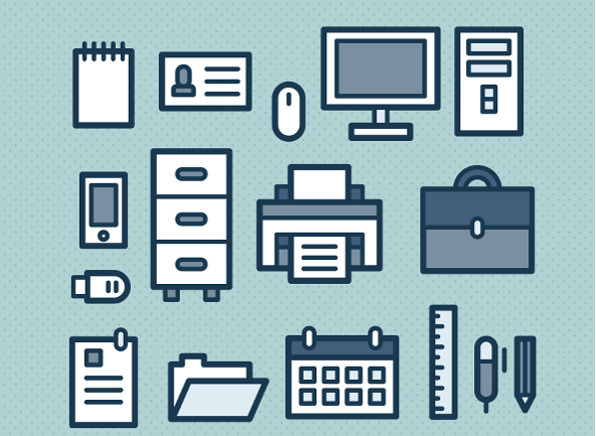 Free Vector Cute Office Icons