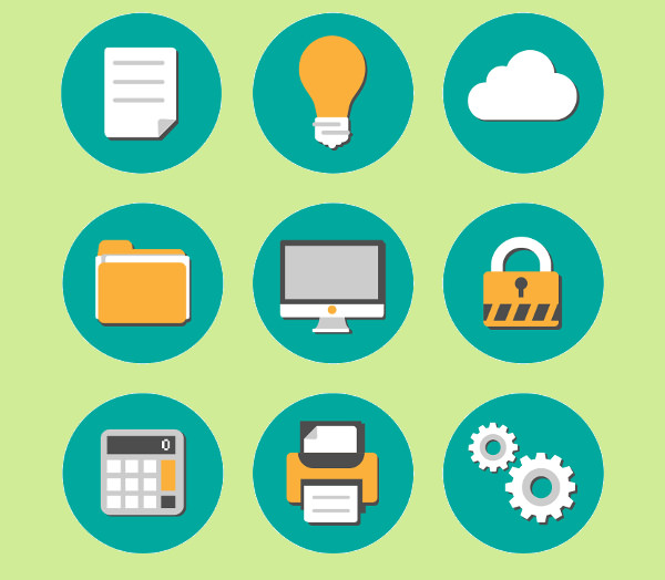 Free Vector Flat Office Icons