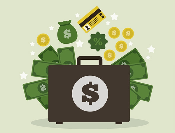 Free Vector Suitcase with Money