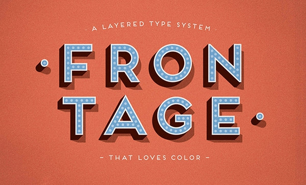 Frontage Free Typeface Embossed Font
