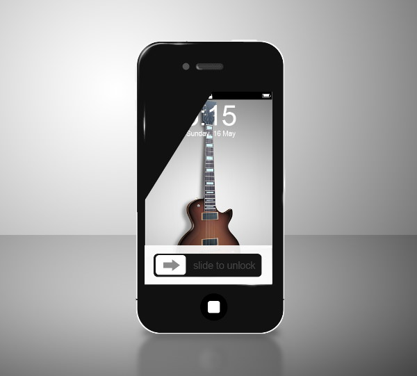 Glossy Black iPhone 4 Mockup PSD