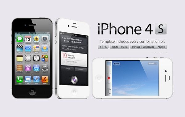 High Res iPhone 4s Mockup PSD