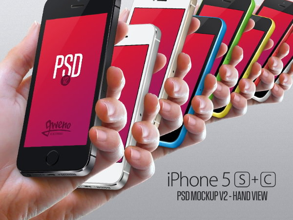 In Hand iPhone 5s and 5c Mockups