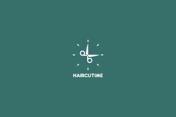 its time for hair cut scissors logo design