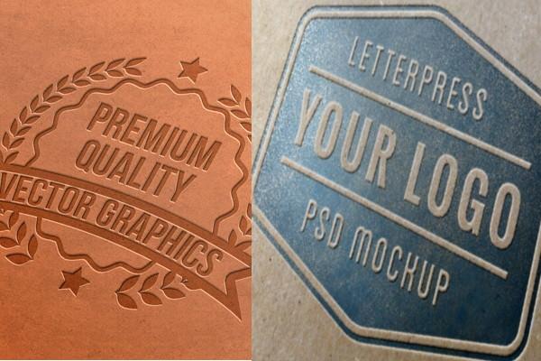Letterpress logo mockups