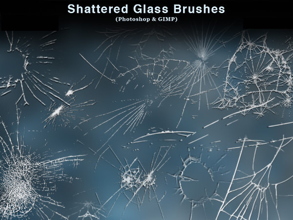 Shattered Glass Brushes for Photoshop and Gimp
