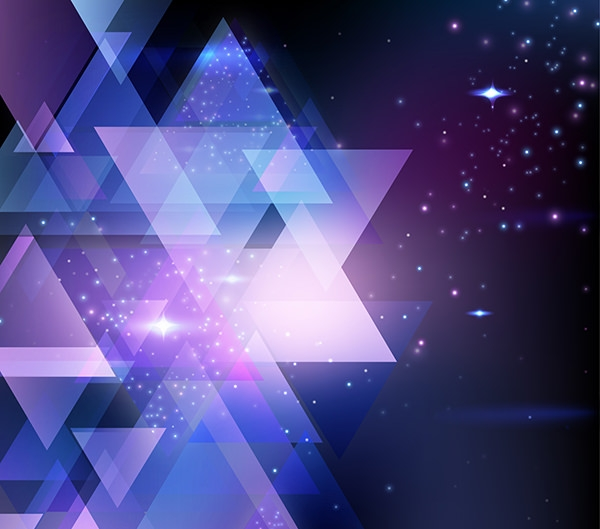 Shiny Triangles Background with Colorful Sparkles