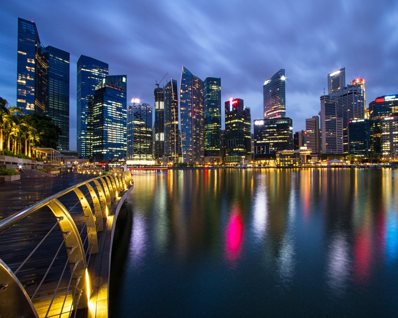 Singapore City Metropolis Skyscrapers Night Lights Wallpaper