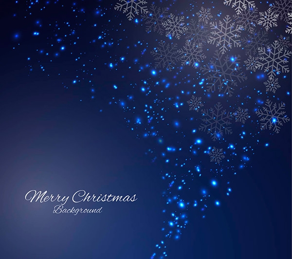 Sparkling Blue Christmas Background in Abstract Style