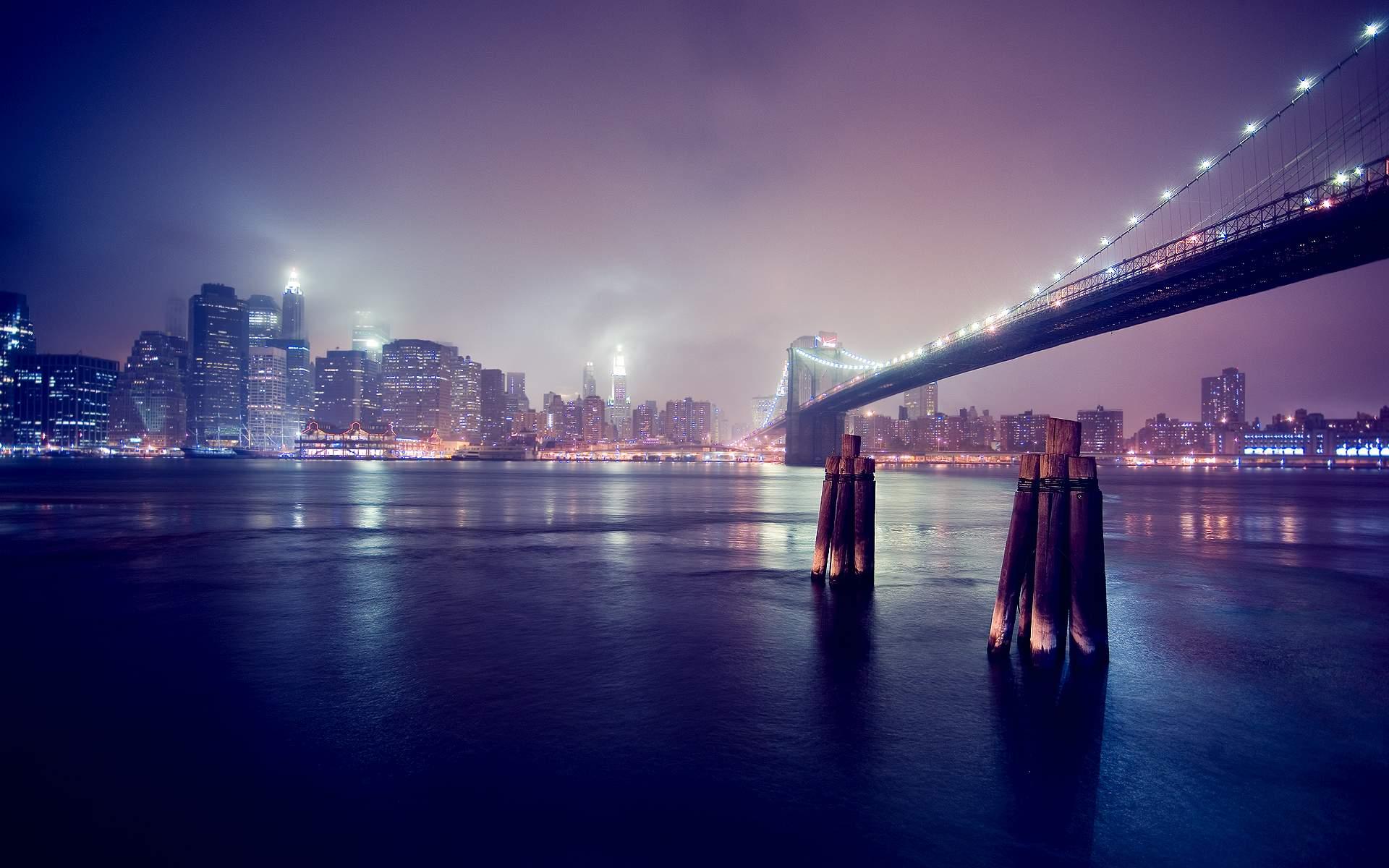 Very Pleasant View City Bridge Wallpaper