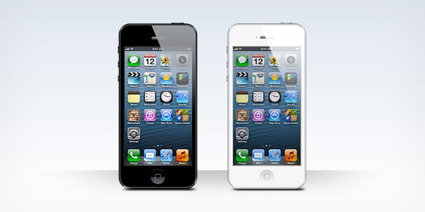 white and black iphone 5 mockup psd