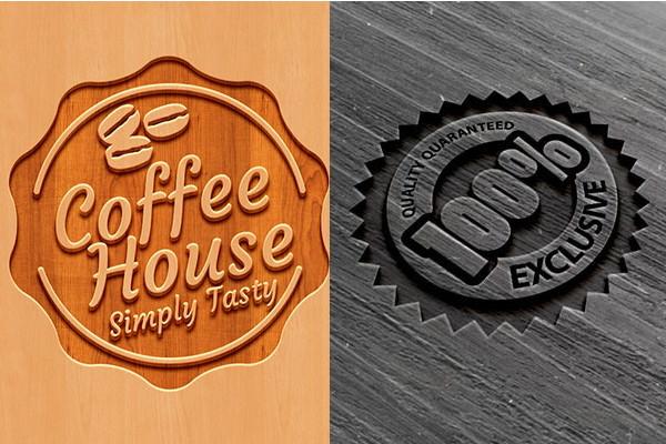 Wooden logo mockups