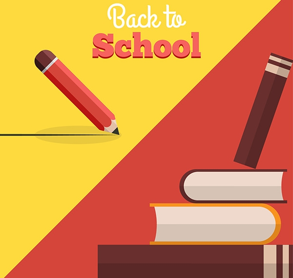 back to School Free Vector Books and Pencil Illustration