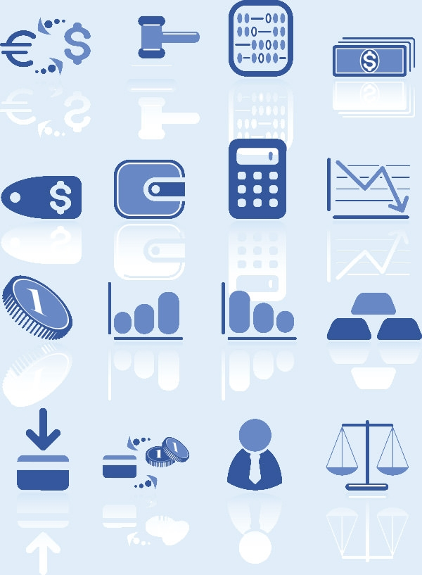 blue-vector-finance-icons-set