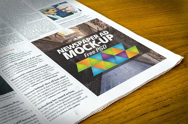 Best Free Psd Newspaper Ad Mockups  Freecreatives
