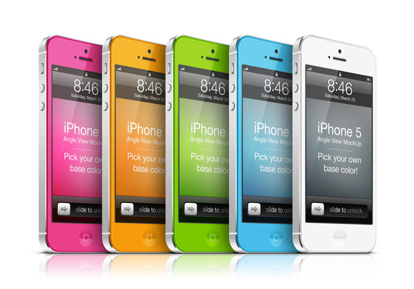 iPhone 5 Angle View Mockup PSD