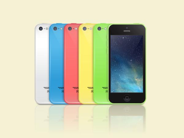 iPhone 5C vector Mockup PSD