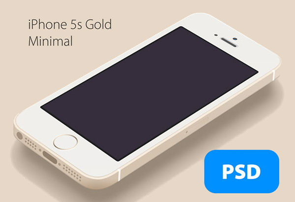 iPhone 5S Gold minimal Mockup