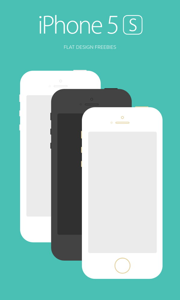 iPhone 5s Flat Design Mockup PSD