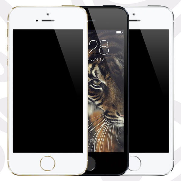 iPhone 5s Gold black Silver mockup psd