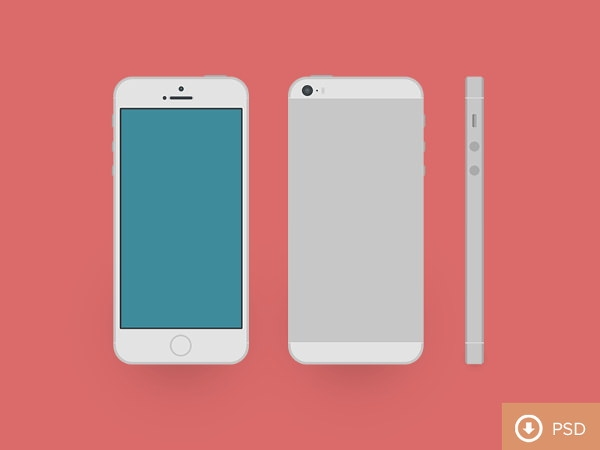 iphone 5s Flat PSD Mockup