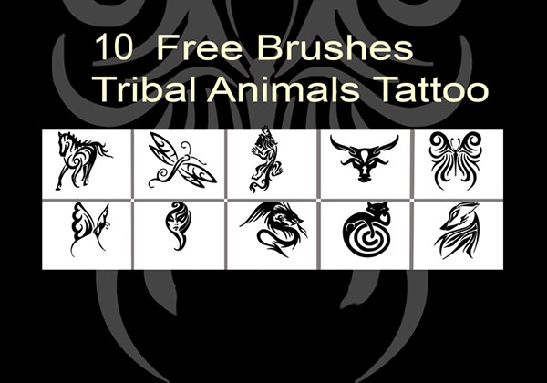 tribal animal tattoo brushes