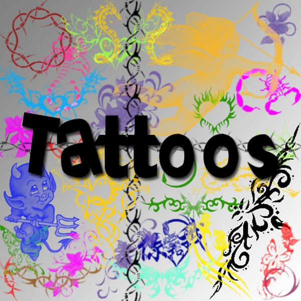 colorful tattoo brushes