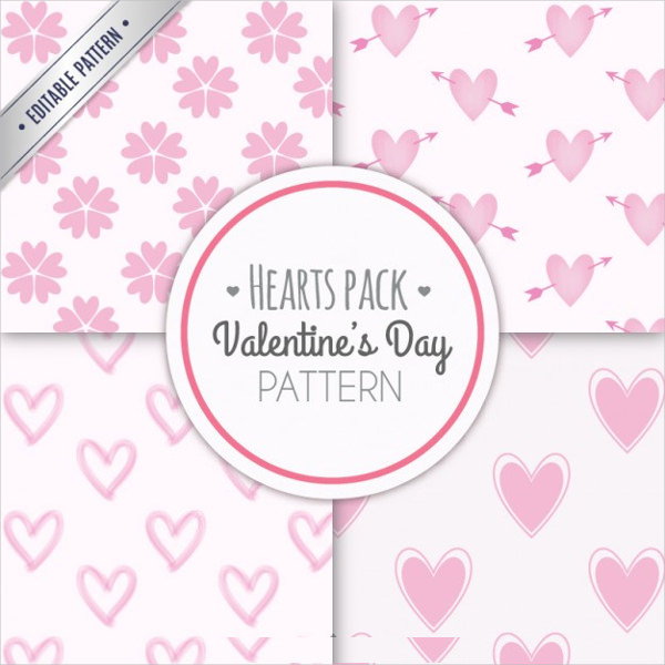 4 Pink Hearts Valentines Day Patterns