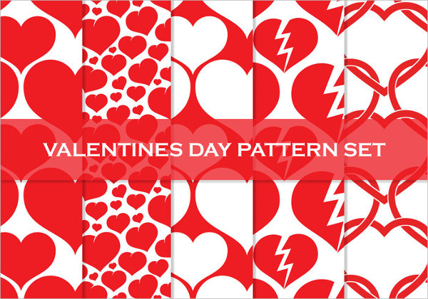 6 High Resolution Heart Valentines Day Patterns