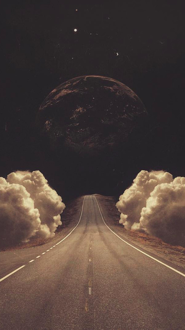 Art Collage Road Clouds Planet iPhone HD Background