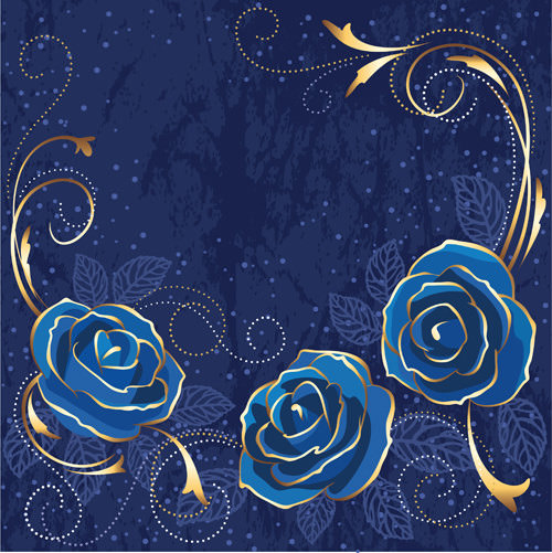 Beautiful Blue Rose Free Vector Vintage Background