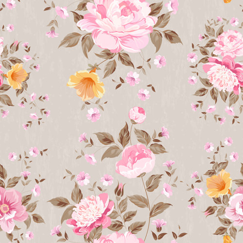Beautiful Flower Background with Vintage Seamless Pattern
