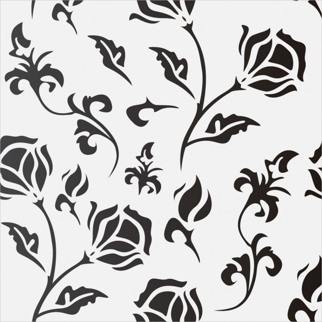 Black Flowers in White Background  Free Vector