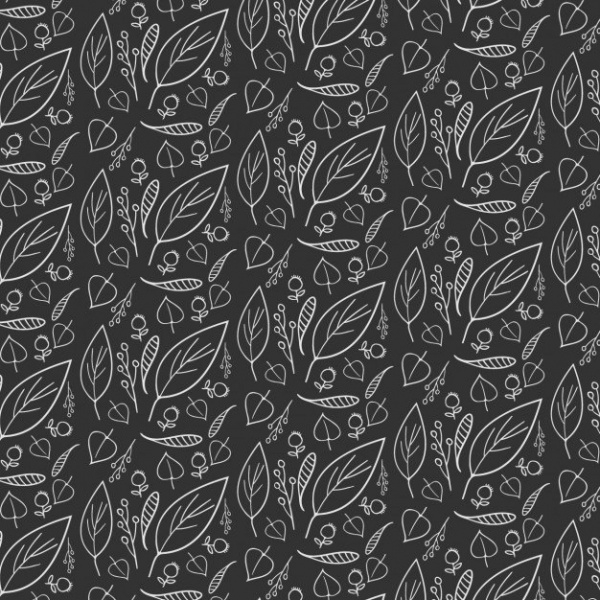 Black Hand Drawn Leaf Pattern