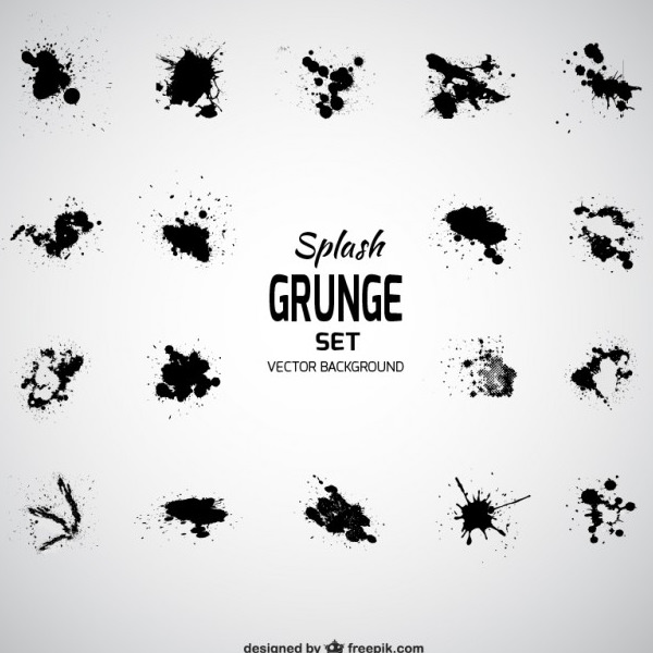 Black Splash Stains Vector Grunge Texture