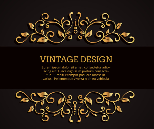 Black Vintage Background with Golden Ornaments
