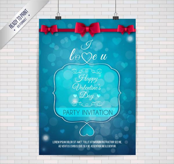 Blue Bokeh Valentine Poster