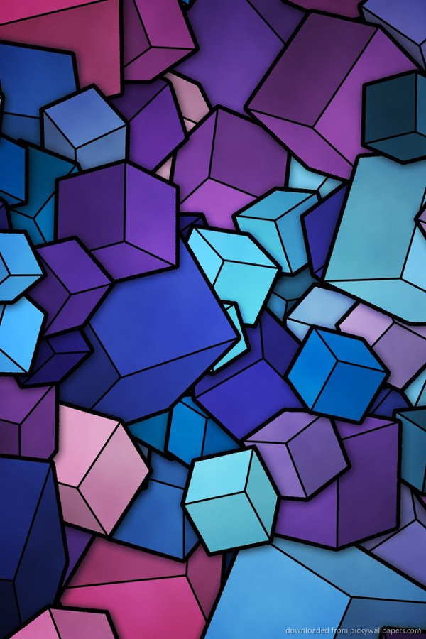 Blue Cubes For iPhone Background