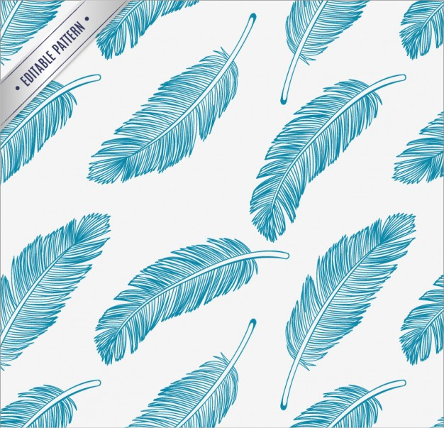 Blue Feathers Pattern Background Free Vector