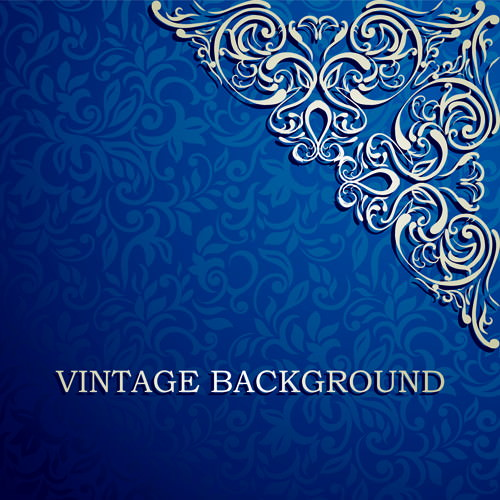 Blue Floral Ornament Vintage Background