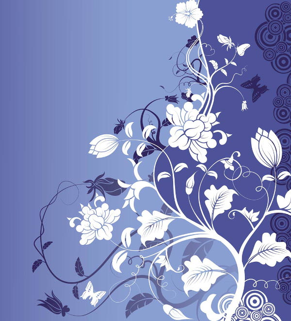 Blue Vintage Background with Flower Art
