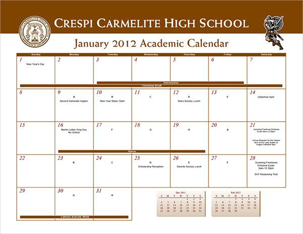 Carmelite High School Calendar