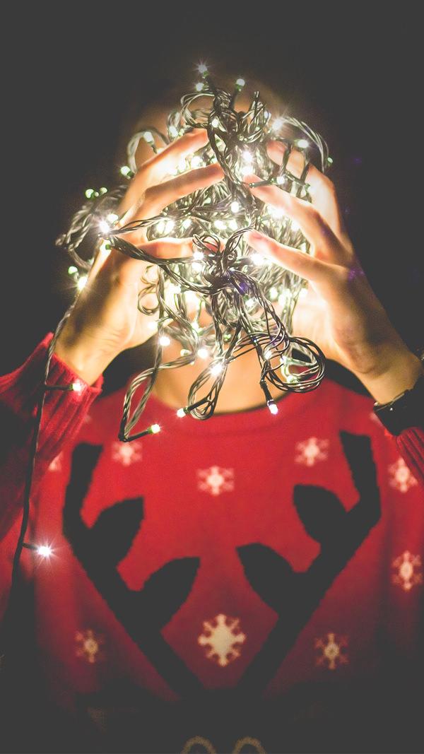 christmas lights reindeer iphone 6 background