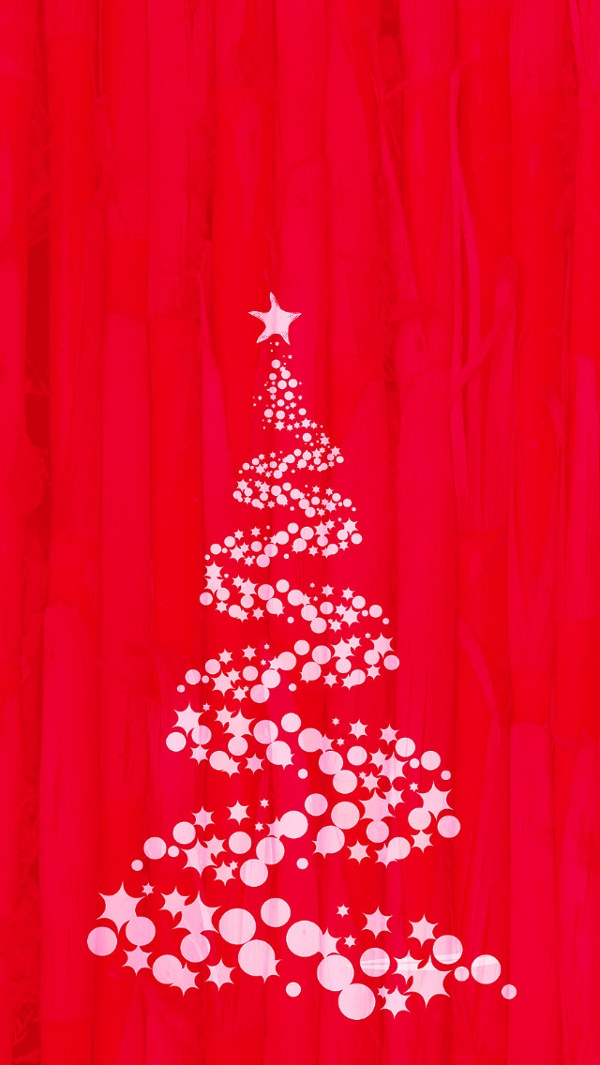 Christmas Tree Red iPhone 5 Background