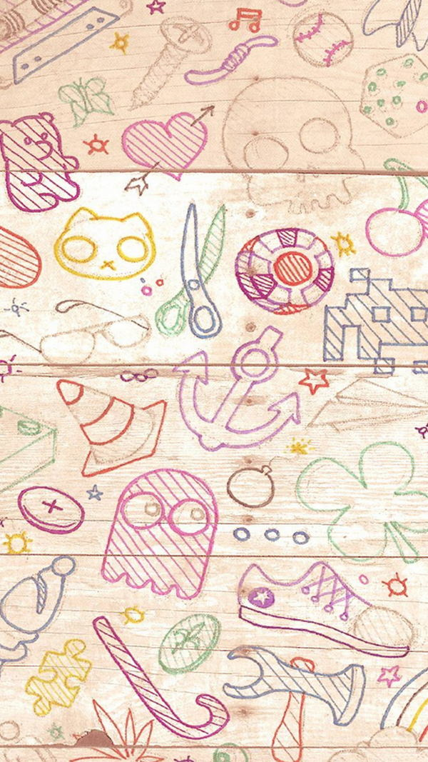 Colorful Doodles Light Wood Background For iPhone 6